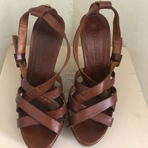 Burberry Shoes - Burberry Brown Leather Slingback Wedge Sandals